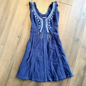 Free People Beaded Navy Blue Midi Dress